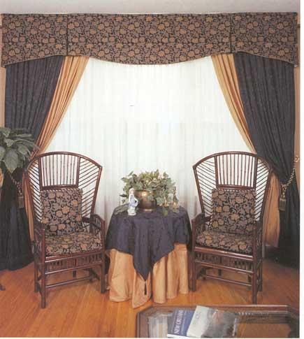 Double drapery Side Panels with tassel tiebacks